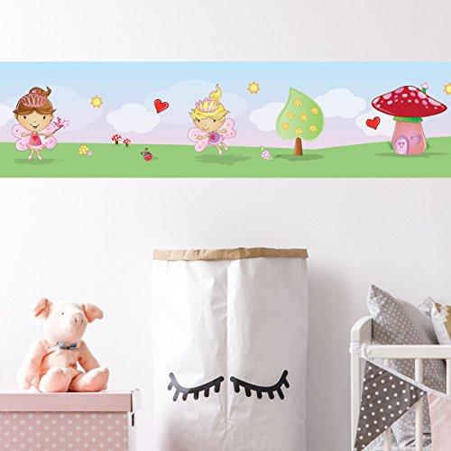 Wandkings Bordüre - Wähle ein Motiv - Feenwelt - 3x selbstklebende Wandbordüren je 150 cm - Gesamtlänge: 450 cm - Höhe: 12,5 cm