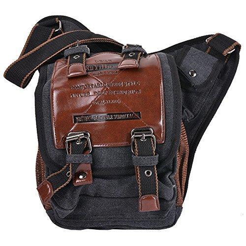 HooAMI Segeltuch Rucksack Herren Mode Umhaengetasche Schwarz Bodybag Messenger Bag Schultertasche Canvas Outdoor