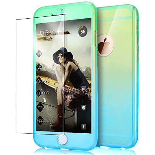 iPhone 5S Coque, iPhone 5Coque, iPhone SE Coque, Yoota fin coloré Coque [protection d'écran en verre trempé] [] PC rigide Translucide anti-rayures Coque de protection intégrale 360 Vert/bleu
