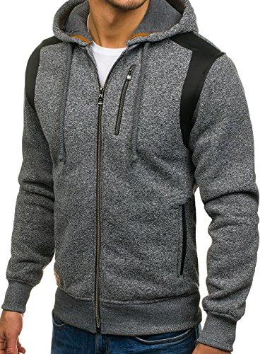 BOLF – Felpa – Cappuccio – Con cerniera – Sweat-shirt – Hoodie – Motivo – Uomo – 1A1 Antracite