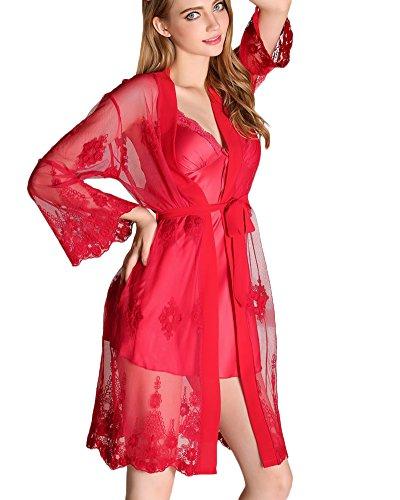 Ensemble 2Pcs Peignoir avec Ceinture Robe de Chambre Dentelle Col-V Chemise de Nuit en Satin Imitant Pyjama Vin Rouge