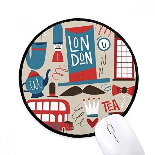 DIYthinker Big Ben britische Bus England-Flagge Runde Griffige Mousepads Schwarz Titched Kanten Spiel Büro-Geschenk