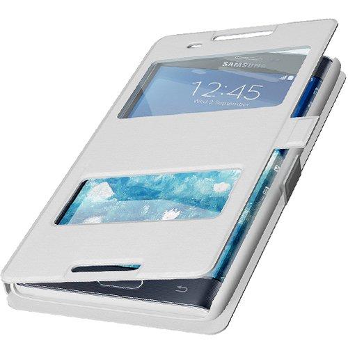 Flip Cover Handytasche Tasche Samsung Galaxy J5 SM-J500F Weiss Bookstyle Case Wallet Etui Magnettasche + Gratis Displayschutzfolie Panzerfolie Original q1® Markenware