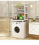 SLMY Verstellbares Badezimmerregal Duschregal mit 2 Ablagen, Chrom, 184 x 60 x 70 cm, Legierung, weiß, 1 0.00watts