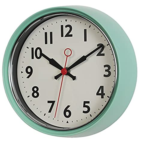 1950s Style Metal Wall Clock - Choice Of Colours ( Mint Green )