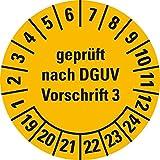 LEMAX® Prüfplakette Geprüftn. DGUV Vorschrift 3 19-24,gelb,Dokumentenfolie,Ø 20mm,36/Bogen