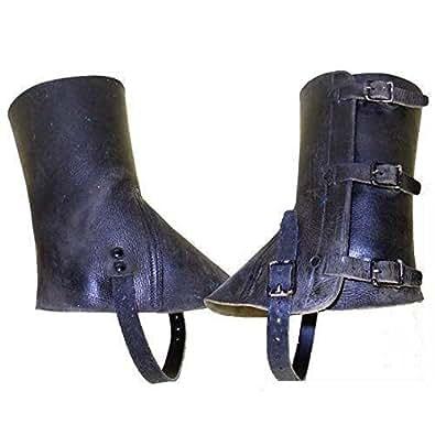 Armeeverkauf paire de guêtres en cuir de l'armée suisse-ledergamaschen noir