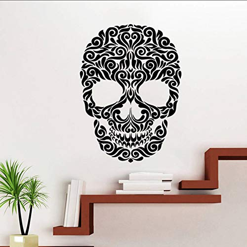 (Koyiyo Vinyl Aufkleber Decals Kunst Wohnkultur Wandbild Zucker Schädel Tattoo Gesicht Blumenmuster Damast Dia De Los Muertos Horror 55 * 75Cm)