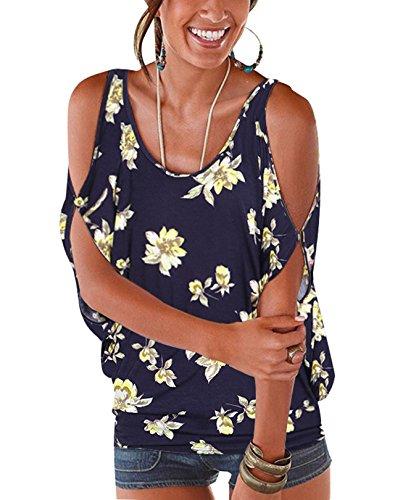 YOINS Bluse Damen Kurzarm Schulterfrei Oberteil Damen Off Shoulder Top Sommer Carmen Shirt Blumenmuster Blumenmuster-Dunkelblau-03 EU40-42 Baumwolle Kurzarm-leggings