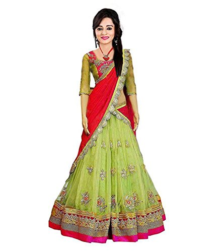 Bhakti creation Gril's lehnga choli free size green color Georgette with embroidery...