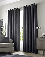 """Textured Woven Charcoal Grey Lined 90"""" X 90"""" - 229cm X 229cm Ring Top Curtains by Curtains"""