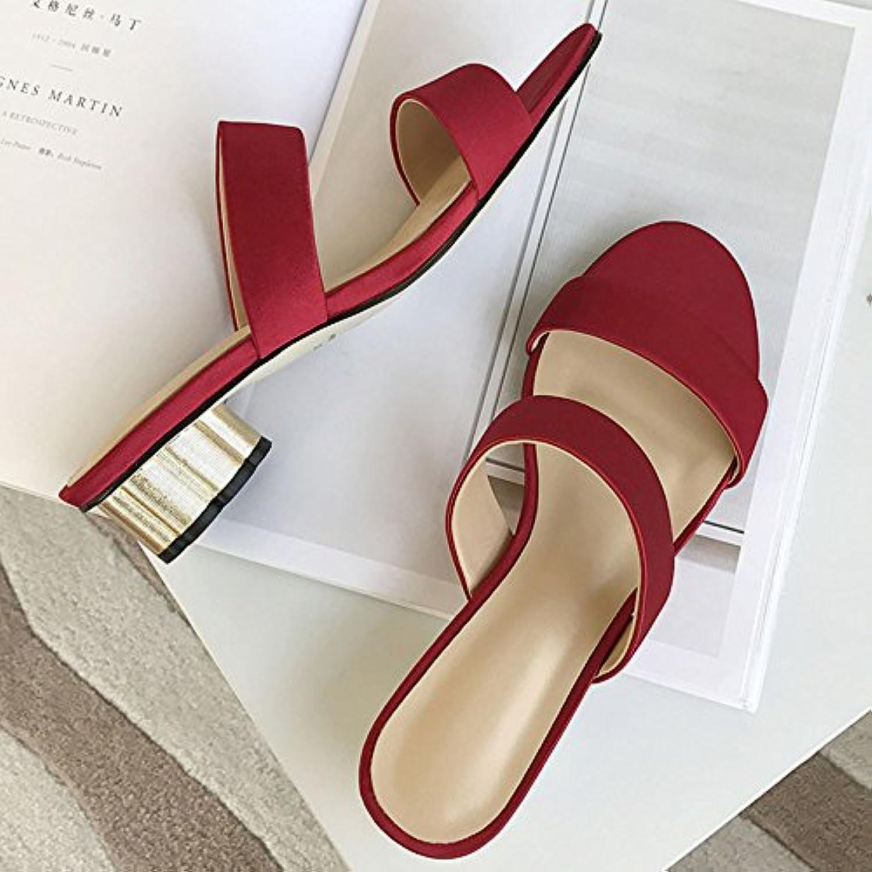 Slipper CAICOLOR Verano Grueso con Zapatos de Tacón bajo Zapatillas de Dedo Abierto Versión Coreana (Color : Rojo...