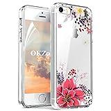 OKZone iPhone 5/5S/SE Hülle [mit HD-Schutzfolie], [Blumen Series] Transparent Silikon Malerei Muster Hülle TPU Blühende Blumen Design Schutzhülle für Apple iPhone 5/iPhone 5S/iPhone SE (Rosa)