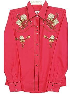 Modestone Women's Embroidered Western Camisa Vaquera Floral Fushia
