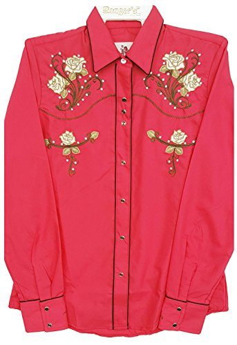 Modestone Women's Embroidered Fitted Western Hemd Floral Fushia 3XL - Panhandle Slim Rock