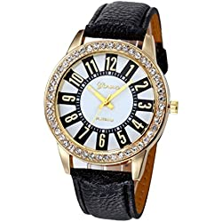 WINWINTOM Women Stainless Steel Analog Leather Quartz Wrist Watch Black