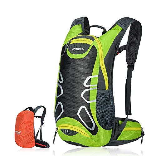 PENGWH Outdoor-Rucksack, Fahrradrucksack Männer und Frauen Fahrradrucksack wasserdicht mit Reflexstreifen für Nachtfahrten, Wanderabenteuer usw,Green