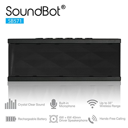 SoundBot® SB571 Bluetooth Wireless Speaker for 12 hrs Music Streaming & Hands-Free Calling w/ 6W + 6W 40mm Driver Speakerphone, Built-in Mic, 3.5mm Audio Port, Rechargeable Battery for Indoor & Outdoor Use, Black