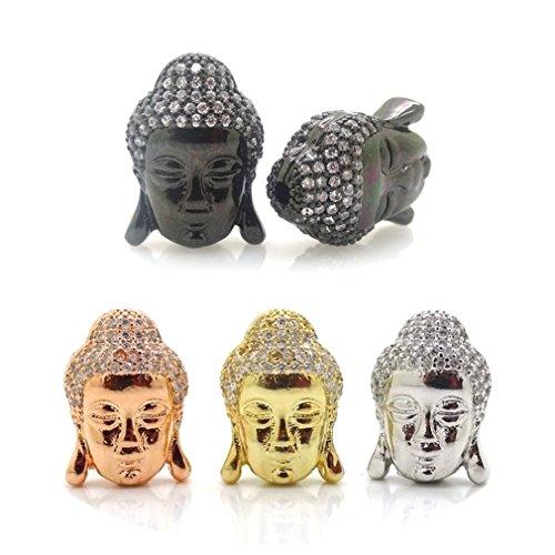 jennysun2010zircone pietre Zirconia Cubica con testa di Buddha braccialetto collegamento Charm argento oro rosa oro canna di fucile 1pezzo 2pcs 35pcs 10pezzi per borsa per braccialetto collana orecchini gioielli artigianato design, Randomly Mixed, 10 pezzi
