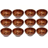 Happie Shopping Handcraft Wooden Serving Bowl For Salad Snacks, Serving Dishes Bowls, Set Of Decorated Tableware Bowls (Pack Of 12)