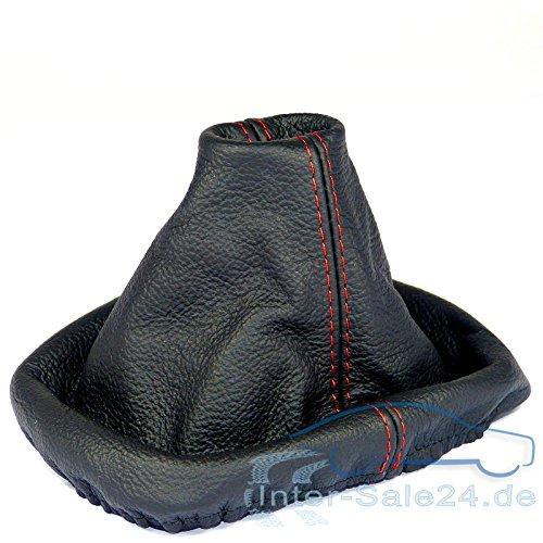 L&P A0034 Soufflet Sac Manchette manchon de commutation 100% cuir véritable veritable noir noire couture fil rouge transmission manuelle boîte boite vitesse vitesses changement vitesse