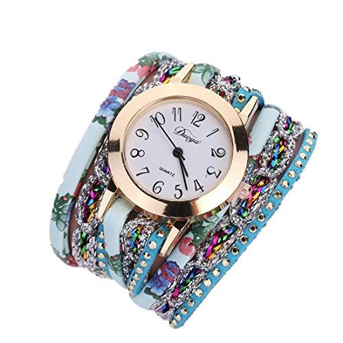 Ouneed Uhren , Frauen Blume populäre Quarzuhr Luxus Armband Uhren kleiden Frauen Dame Geschenk Blume Edelstein Armbanduhr (Blau)