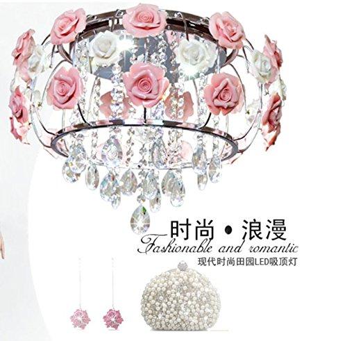 Dolsuml Mode Kinderzimmer Deckenleuchten Pendelleuchten florale Continental Hochzeit Bügeleisen Rose Kristall, 58 Cm -