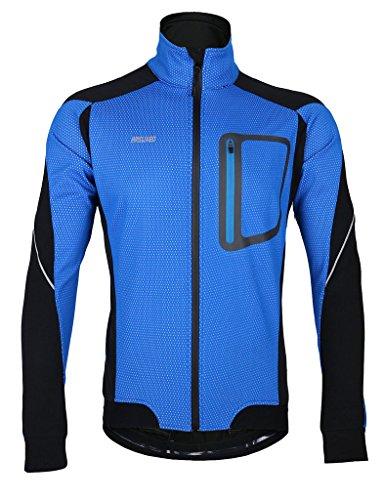 iCreat Herren Jacke Air Jacket Winddichte Lauf- Fahrradjacke MTB Mountainbike Jacket Visible reflektierend, Fleece Warm Jacket für Herbst, Blau Gr.XXL