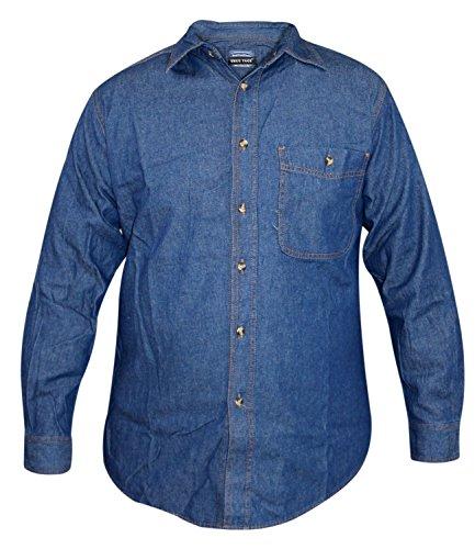 Camicia in jeans a maniche lunghe da uomo di true face, lavaggio scuro, cotone, colletto, stile casual dark wash 3xl