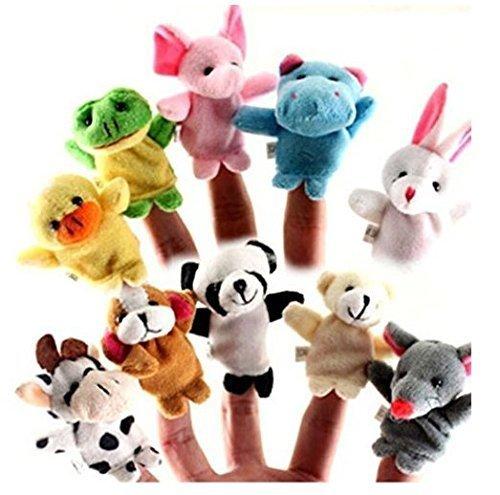 Twister.CK Finger Puppets, Baby Story Time Props, 10 piezas Animal Style Soft Velvet Dolls Apoyos Juguetes educativos para bebés niños