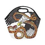 Borsa in neoprene coibentata Aquila da combattimento serpente Serpente da tatuaggio Stile di grandi dimensioni Borsa rigida termica riutilizzabile Borse per pranzo Scatole da esterno