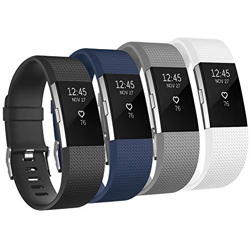 Tobfit für Fitbit Charge 2 Armband, Ersatz Silikon Sport und Fitness Armbänder für Fitbit Charge 2 (Kein Uhr) (4-Pack Schwarz+Blau+Grau+Weiß, Large)