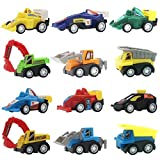 Mini Pull Back Fahrzeuge, Baufahrzeuge und Rennen Auto Spielzeug für Kinder Kleinkinder Jungen ziehen zurück und gehen Auto Spielzeug Play Set