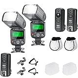 Neewer® PRO NW670 E-TTL Kit de Flash Fotográfico para CANON Rebel T5i T4i T3i T3 T2i T1i XSi XTi SL1, EOS 700D 650D 600D 1100D 550D 500D 450D 400D 100D 300D 60D 70D Cámaras DSLR, Canon EOS M Cámaras Compactas - Incluye: 2 Neewer Flashes de Enfoque Automático con Pantalla LCD + 2.4GHz Disparador Inalámbrico (1 Transistor, 2 Receptores) + 2 Cables (C1-Cord & C3-Cord) + Difusores de Flash 2 Duro y 2 Suave + 2 Soporte para Tapa de Lente