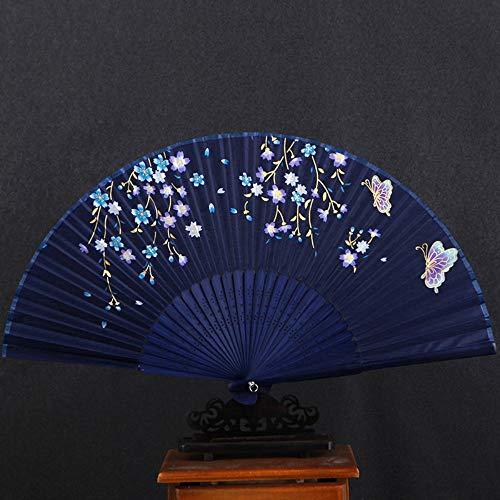 XIAOHAIZI HandfächerFächerFoldingFans Vintage Chinesischen Klassischen Faltfächer, Lila Blüten, Blaue Blumen, Schmetterling Hohl Handwerk Womens Geschenk Tanzfan