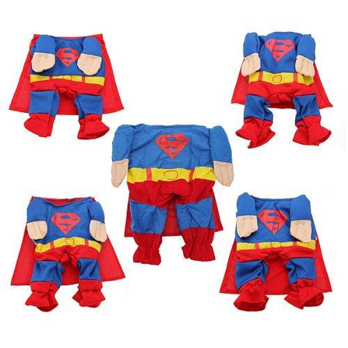 Pet Hund Puppy Baumwolle Kleidung Bekleidung Kostüme Superman Outfit Anzug, asiatische Größe, ()