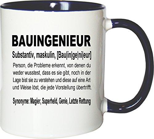 Mister Merchandise Kaffeebecher Tasse Bauingenieur Definition Geschenk Gag Job Beruf Arbeit Witzig Spruch Teetasse Becher Weiß-Blau