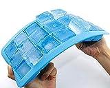 Honearn Silikon Eiswürfelform, flexibles Eiswürfel-Tablett mit Deckel, kleine Eiswürfel, Vorratsdose mit 21Löchern (Blau)