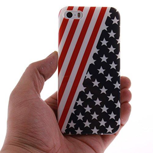 Apple Iphone 5 5S hülle MCHSHOP Ultra Slim Skin Gel TPU hülle weiche Silicone Silikon Schutzhülle Case für Apple Iphone 5 5S - 1 Kostenlose Stylus (Campanula Tanzen mit Feder in rosa Himmel(Campanula  Flagge der Vereinigten Staaten (Flag of the United Sta