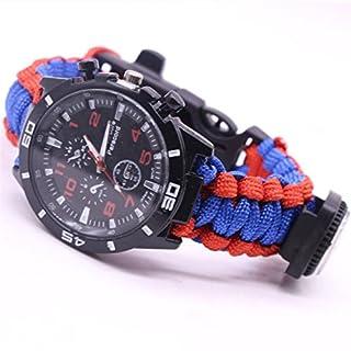 Outdoor Survival Watch Bracelet Paracord Compass Flint Fire Starter Whistle New (A)