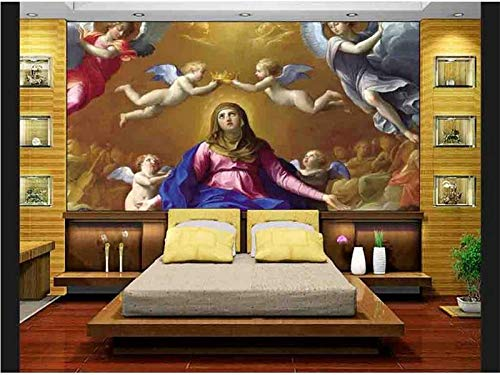 Tapiz de pared Papel tapiz fotográfico personalizado 3d sala mural Virgen María Jesucristo Ángel foto pintura TV fondo papel tapiz no tejido para pared 3d Poster 1 ㎡ (1 metro cuadrado)