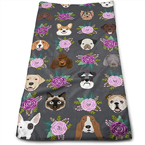 Kitchen Hand Towel Dogs and Cats Heads with Florals Durable Antibacterial and Highly Absorbent Reusable Polyester Towel (Halloween Papier Schwarz Bau)