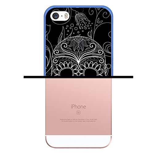 iPhone SE iPhone 5 5S Hülle, WoowCase Handyhülle Silikon für [ iPhone SE iPhone 5 5S ] Schädel und Rosen Handytasche Handy Cover Case Schutzhülle Flexible TPU - Transparent Housse Gel iPhone SE iPhone 5 5S Blau D0059