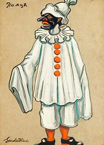 Vintage Ballett Serge Sudeikin Kostüm Design für die Jester von petroushka by Strawinski in Metropolitan Opera 1924–25, 250gsm, glänzend, A3, vervielfältigtes Poster Der Vorderdeckel