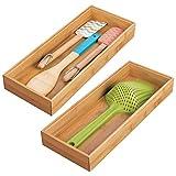 mDesign Set da 2 Portaposate da cassetto - Divisore cassetto modulare per argenteria e utensili da cucina - Organizer per posate in bambù - marrone chiaro
