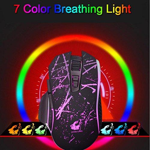 Gaming Maus, hunpta V1Wired RGB LED-Hintergrundbeleuchtung Lasermaus 7buttons Optische Gamer Gaming Maus Metall Panel