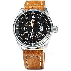 Leopard Shop naviforce Herren Quarz analoge Uhr Armbanduhr PU Gitarrengurt braun