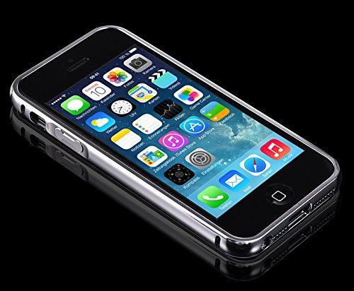 Minto Luxus Aluminium Metall Spiegelhülle Schutzhülle iPhone 8 Plus / iPhone 7 Plus Spiegel PC Rückseite Case Cover Hülle + Metall Bumper Rahmen Silber Silber