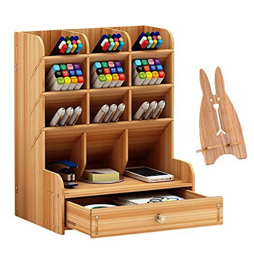 Marbrasse Organizer da scrivania in legno, multifunzione, portapenne fai da te, cancelleria da scrivania, forniture per casa e ufficio con cassetto (B11-colore ciliegia)