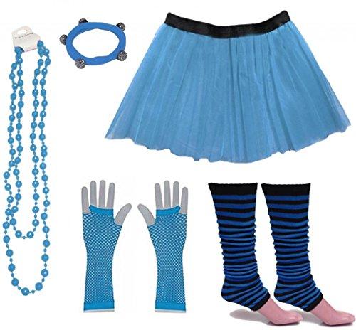 tüm 80er Jahre Neon Tutu Streifen Beinstulpen Fischnetz Handschuhe Tüllrock Karneval Tüll Damen Fluo Ballett Verkleidung Party Tutu Rock Kostüm Set (36-44, Blau) ()